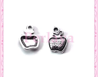 Set of 15 REF1237X3 silver Apple charms