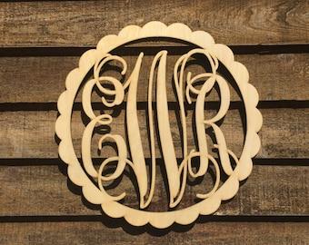 Personalized Large 24 inch Unpaintied Scalloped Wooden Monogram - Wood Letters - Nursery Decor - Door Hangings - Bedroom Monogram