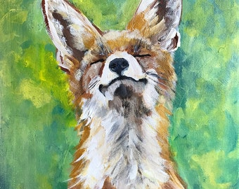 Original Painting.  OOAK.  Happy Spring/Fox