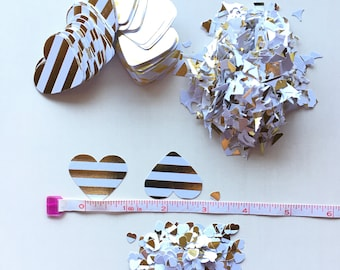 100 Gold Bar Confetti, white gold wedding, table confetti, heart confetti, gold bar heart confetti, gold bar hearts, gold heart scatter