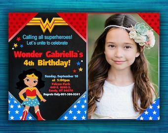 Wonder Woman Invitation - Wonder Woman Party Invitation - Wonder Woman Birthday - Superhero Birthday Party-Girl Birthday- Photo-Digital file