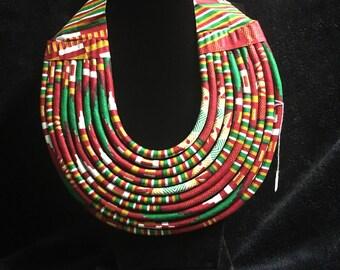 Multi colored  Ankara layred fabric statement neck bib
