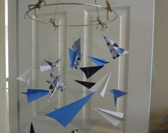 Paper Airplane Baby Mobile