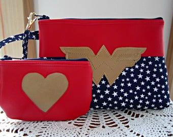 Vegan Leather Wristlet Set,Wedding Bridal Smart phone Case Gadget Pouch Clutch   Made in USA Wonder Woman