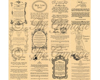 12 Love Book of Shadows Pages - Witchcraft - Wicca - Real Magic Spells - Wicca Poster - Spell Book Pages - Like Charmed