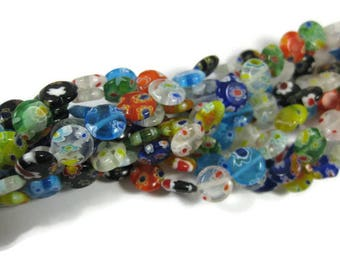 10 mm Round Flat Millefiori Glass Beads Set of 50