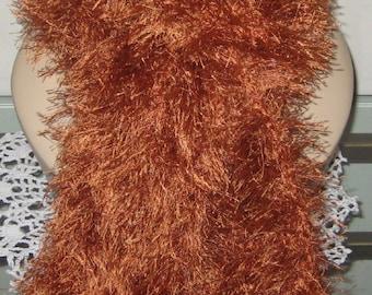 Crochet Eyelash Scarf in Copper