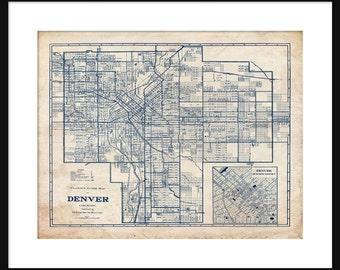 1944 indianapolis street map vintage blueprint print poster denver map 1944 street map vintage blueprint grunge print poster malvernweather Images