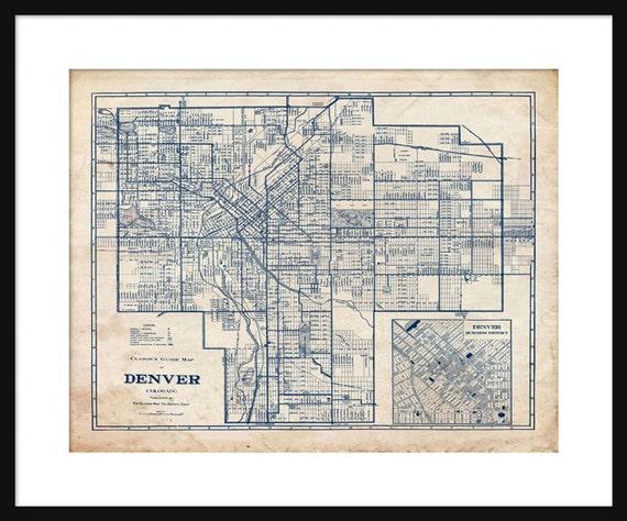 Denver map 1944 street map vintage blueprint grunge print malvernweather Images