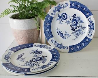 Vintage Ironstone Dinner Plates - Set of 4 JG Meakin Cathay Ironstone Dinner Plates Blue and & Ironstone dishes | Etsy