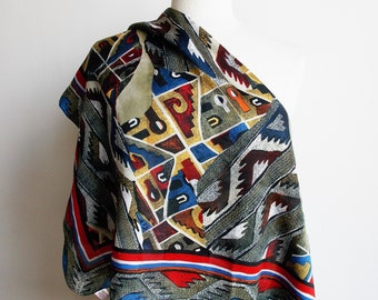Vintage abstract scarf, large square scarf, vintage neckerchief, made in Italy, mid century headscarf, small tablecloth, bandana, kerchief.