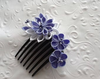 Hair Comb - Light Blue Lilac White Kanzashi Flowers - Wedding Hair Flowers