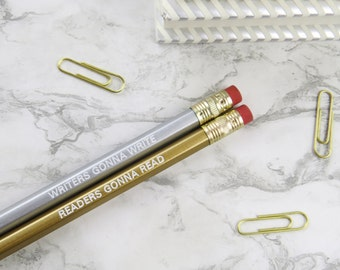 Readers And Writers Metallic Pencil Set - Engraved Quote Pencils - Stationery Gift for Book Lover - Geek Gift