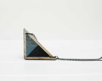 Triangle  Necklace Wooden Geometric Necklace Minimal Necklace Black Grey Wood Necklace Made to Order