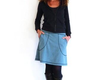 Bundrock with pockets in a-form! Aqua, light blue