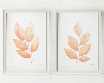 Light coral leaves Set of 2 printable prints Pastel orange Nursery wall art Girl room artwork Digital Nursery art set Bedroom wall art decor