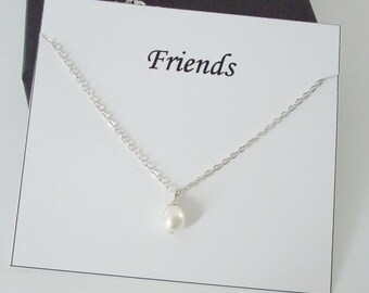 Solitaire White Pearl Sterling Silver Necklace ~~Personalized Jewelry Gift Card for Friend, Sister in Law, Cousin, Bridal Party, Graduation
