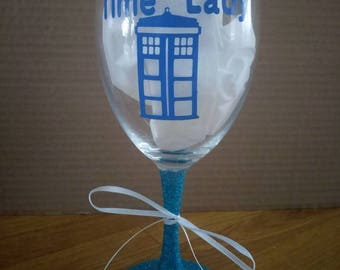Doctor Who glitter time lady wine glass