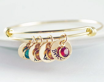 Mom Bangle Bracelet - Personalized Birthstone Name Charm Bracelet - Hand Stamped Bangle Bracelet - Personalized Bracelet - Gold Bracelet