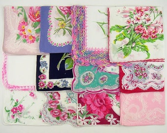 Vintage Hanky Lot,Vintage Lot of Pink Handkerchiefs,One Dozen Assorted Pink Vintage Hankies Handkerchiefs (Lot #D14)