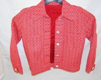 60s Sweet Child Costume Set / Jacket + Skirt / Cotton + Polyester / Girl