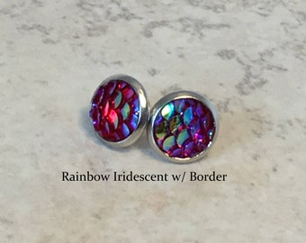 Mermaid or Dragon Scale Stud Earrings