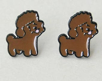 Poodle enamel pierced stud earrings.