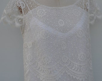 Blouse ivory lace, ivory lace blouse, boat neck, short sleeve lace top blouse, tunic ivory lace, ivory top
