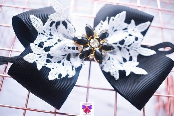 Black and White Lace Layered Bow with rhinestone - Baby / Toddler / Girls / Kids Headband / Hairband / Hair bow / Barette / Hairclip