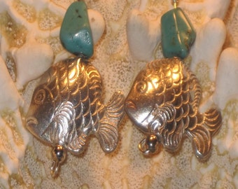 Turquoise Nugget Silver Karen Hill Tribe Fish Earrings