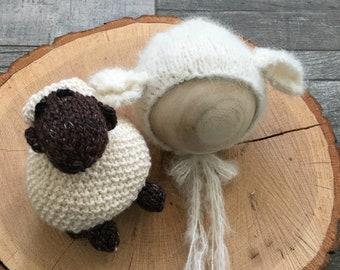 Lamb Stuffie and Matching Bonnet, Photo Prop,Photography Prop,Newborn Prop,Newborn Pictures,Baby Bonnet,Baby Lamb