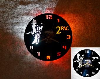 Vinyl clock 2pac, tupac wall clock, tupac shakur LED clock, music lover gift, rap, hip-hop, retro wall clock, illuminated wall clock