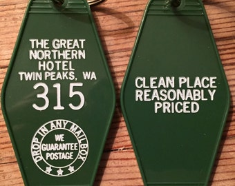 "Green with white printed ""Twin Peaks"" Inspired ""GREAT NORTHERN hotel keychain -   On Sale!"