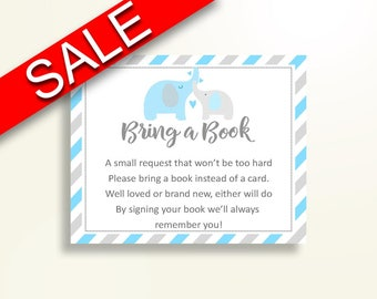Bring A Book Baby Shower Bring A Book Elephant Baby Shower Bring A Book Blue Gray Baby Shower Elephant Bring A Book printable C0U64