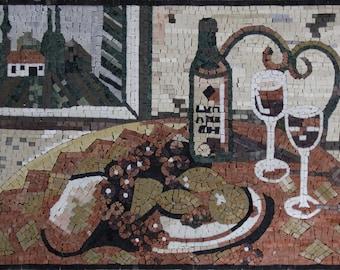 "Village Breakfast Plates 27""x20"" Wine Mural Marble Mosaic KB85"