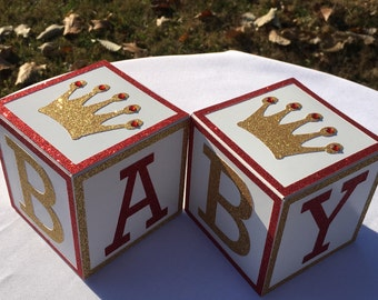 Red and Gold Baby Shower Centerpiece , BABY blocks, Royal Prince Baby Shower, BABY Block Centerpiece , Prince Baby Shower Decor, Set of 4