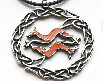 Celtic Fox Pendant in brass or albata with enamel. Celtic jewelry