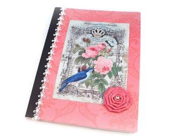 Journal, Cottage Chic, Shabby Vintage, Writing Journal, Personal Diary, Food Journal, Diet Journal, Lined, Meditation, Prayer, Exercise