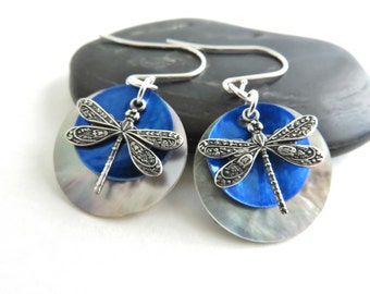 Dragonfly Earrings - Dragonfly Jewelry, Cobalt Blue Shell Earrings, Beach Jewelry, Mussel Shell Earrings, Sterling Silver Earrings, Bohemian
