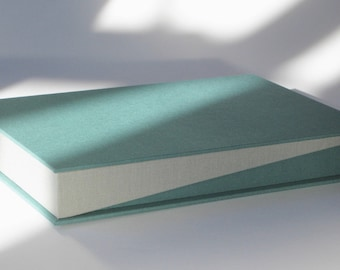 Photo Album Clamshell Box Portfolio - Teal and Gray