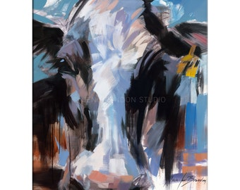 Cow Art - Matted Print of Original Oil Painting - Cows, Animal Lovers, Farms, Happy Art,
