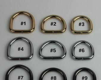10 PCS, Internal Width of 10mm / 1cm / 2/5 inch D-ring, Brass, Silver or Golden