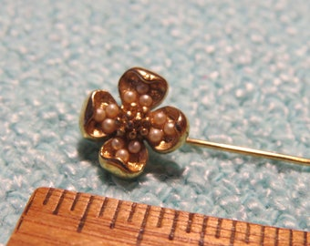 Faux Pearl and Gold Clover Brooch