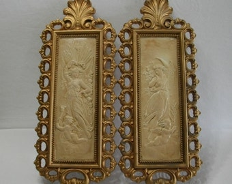 Gold Wall Plaques / Vintage SYROCO Homco Hollywood Regency Gold and Cream Pair of Vintage Angels and Cherubs Wall Plaques