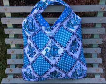 SALE Bag for life - shopping bag made from vintage basketweave Dutch fabric