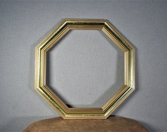 12x12 Frame Octagon Gold Wood with Optional Glass and Matting Complete Kit