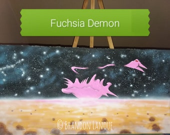 FUCHSIA DEMON * Original mixed media Space Fantasy painting by Brandon Lanoue