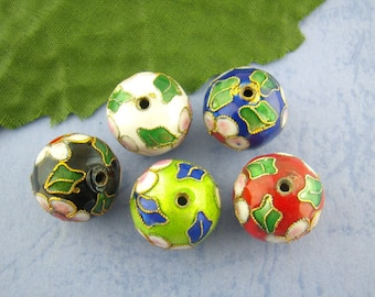 50 cloisonne beads, beads 8 mm, color mix