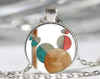 Round abstract patterns necklace geometric pendant cabochon glass chain silver