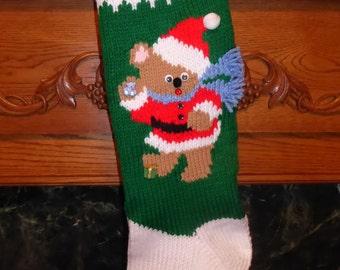 "Knitted Christmas Stocking Pattern - ""A Christmas Bear - Boy"""
